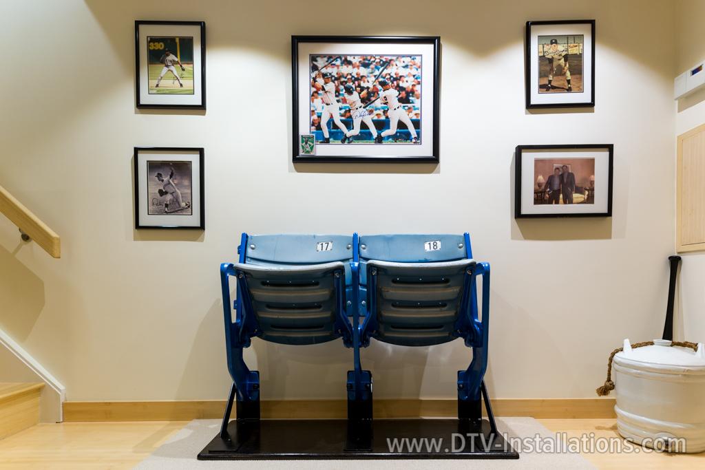 Baseball fan wall of fame in living room