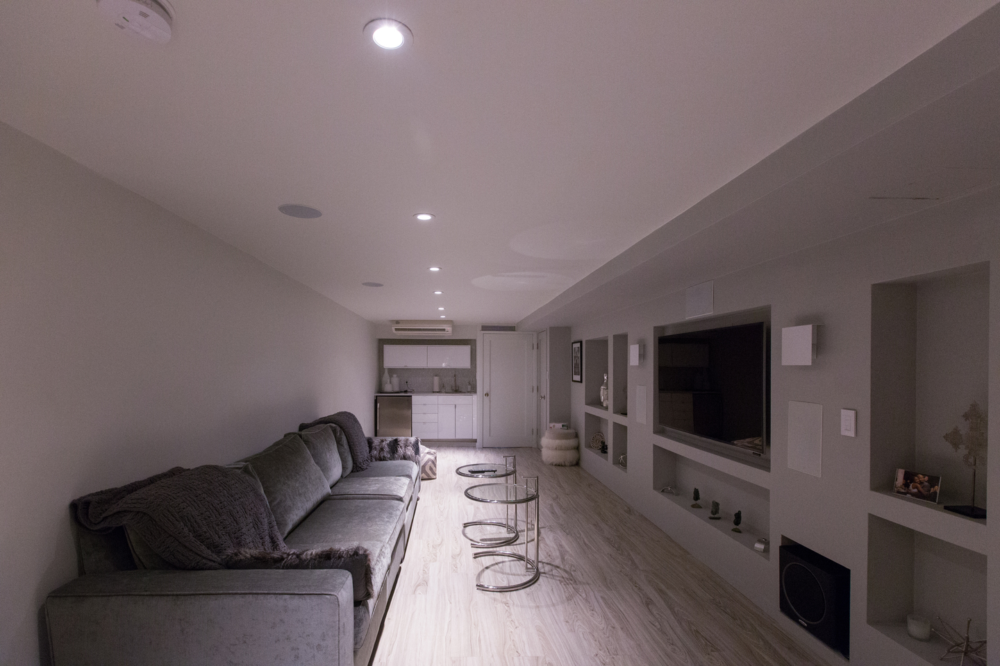 cables run within the house included two 50 feet 4K HDMI cables, fiber optic cables and speaker cables
