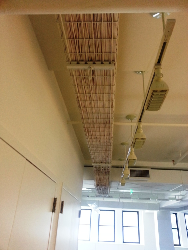 Cat6 Cables Running Along the Ceiling
