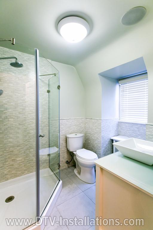 Ceiling speakers in the bathroom