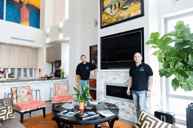 DTV Instalalers (John and Sean) after Samsrt Home Automation project was done in Manhattan, New York