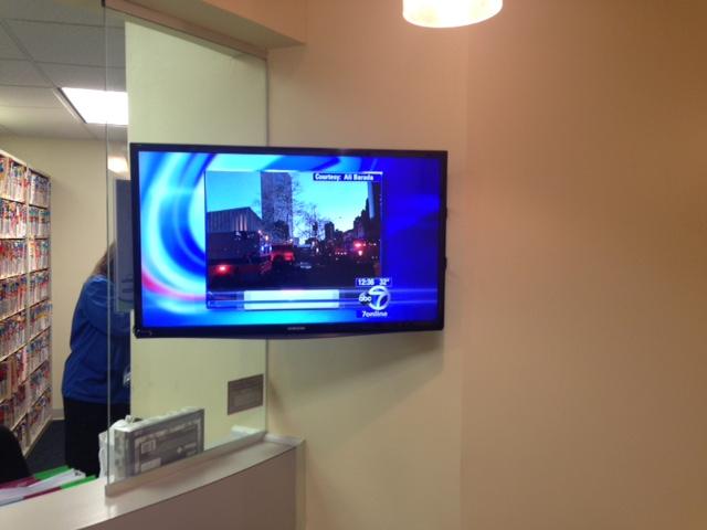 Flat panel TV mounted on the wall.JPG