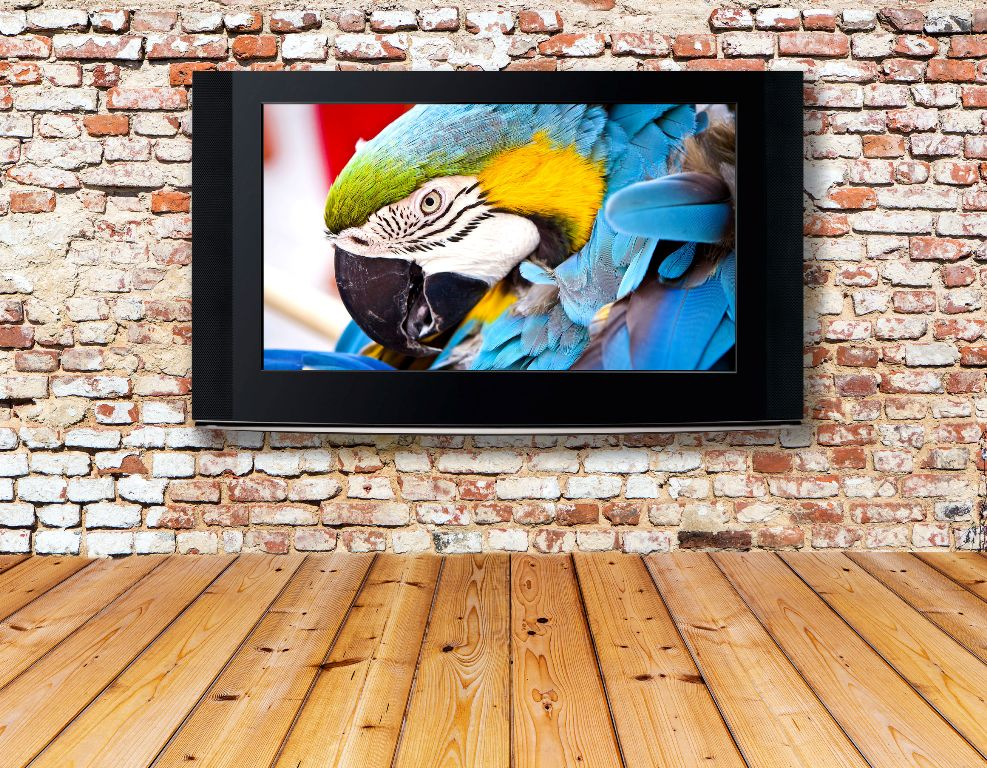 flats screen tv mounted on brick wall