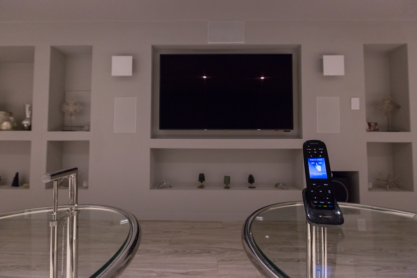home theater system with POLK audio speakers and universal remote control