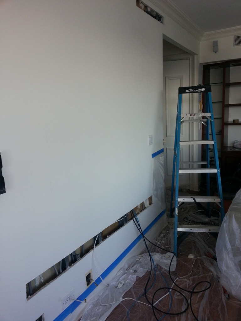 Smart Tv Mounted On The Wall Manhattan Ny Lower East Side Dtv House Wiring For Pro Flex 4k Hdmi Cables In Open