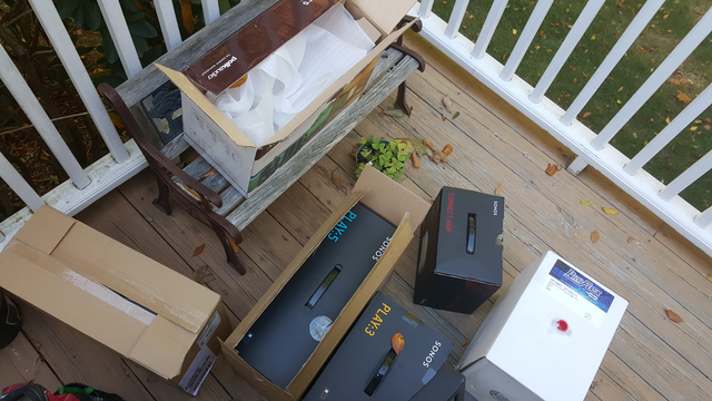 Sonos play3 paly5 luxul in the boxes