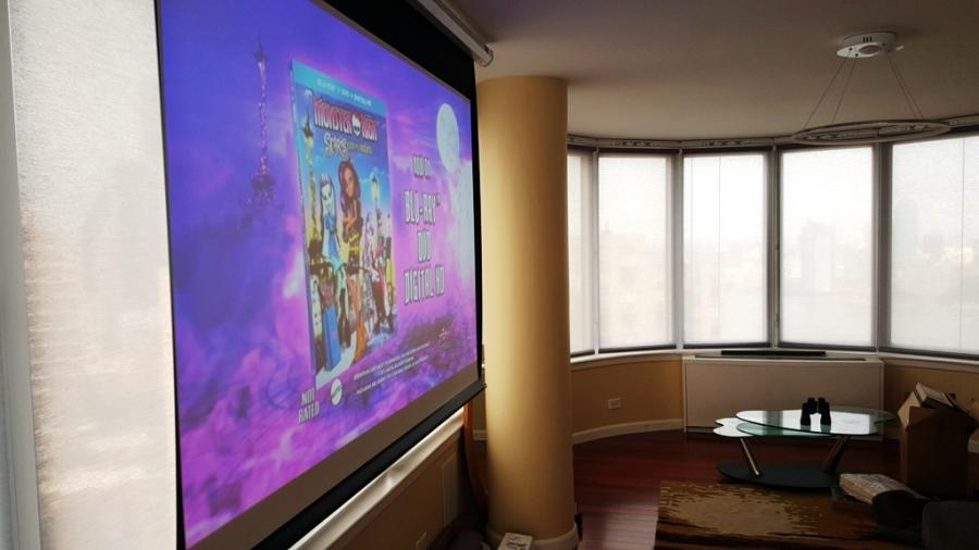 motorized Draper projection screen