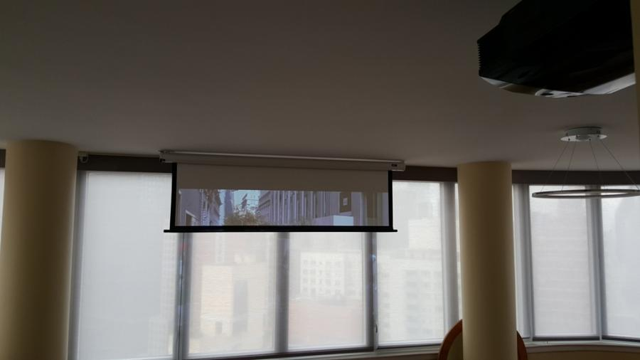 Motorized projector screen for home theater in Manhattan