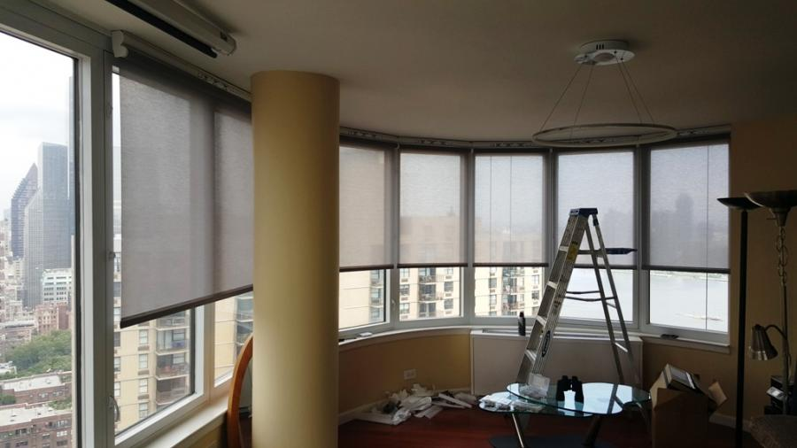 Motorized shades and Home Theeater  Project in Manhattan, NY Windows with closed shades