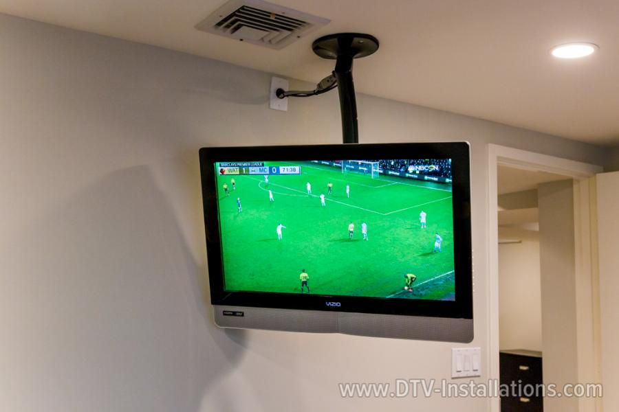 Vizio TV mounted on ceiling