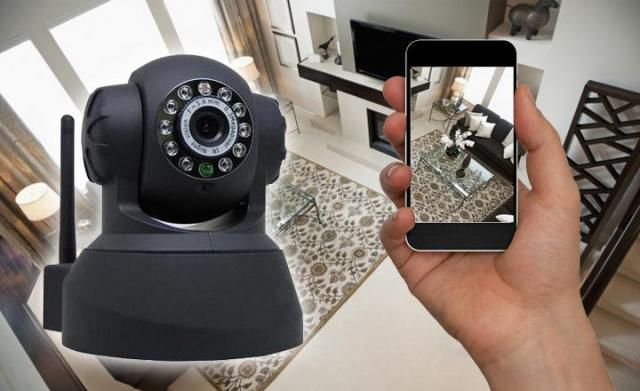 CCTV Camera and smartphone used as a monitor