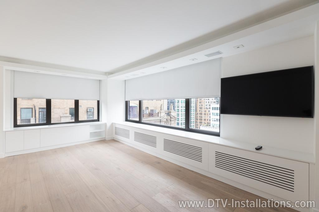 Motorized lutron shades hdtv wifi system luxury condo for Lutron motorized blinds cost