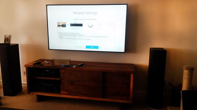 2.1 audio system along with the Samsung 65 smart TV, Marantz home theater receiver, Marantz pre-amp, and universal remote control.jpg