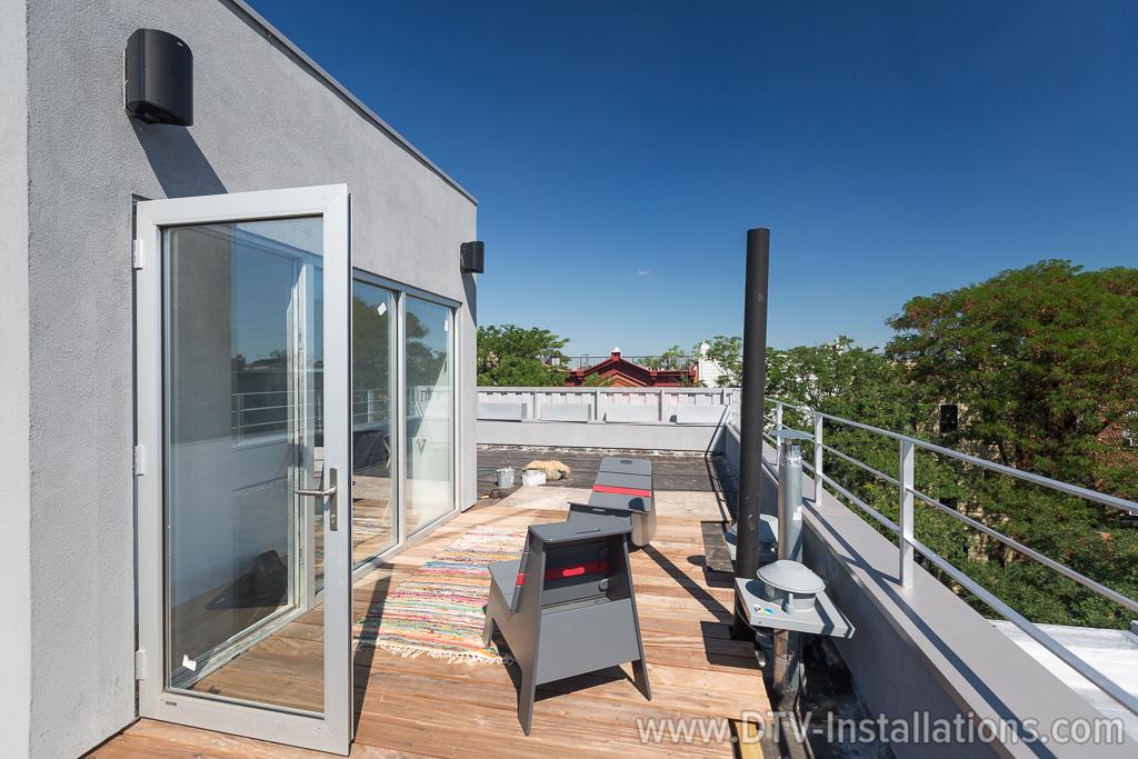 2 zones of outdoor audio on the rooftop patio