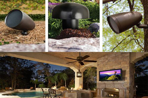 Audio speakers hidden in outdoor environment