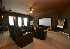 Home theater with open shades