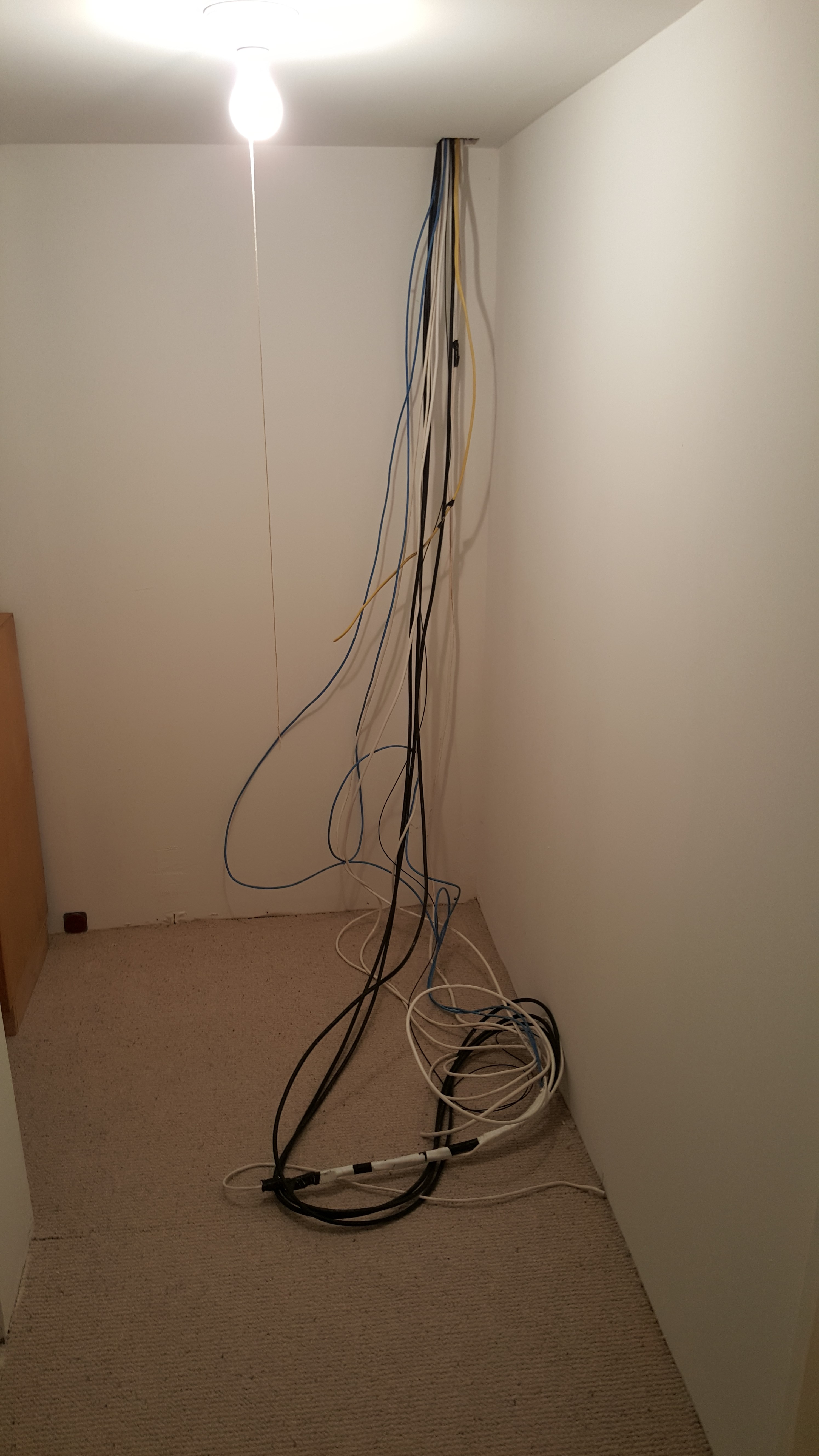 Home Theater Installation With 31 Sound Bar In Wall Sub Woofer And Wiring Basement Cable Tv Cables Running From The Television Audio Equipment Ends Up