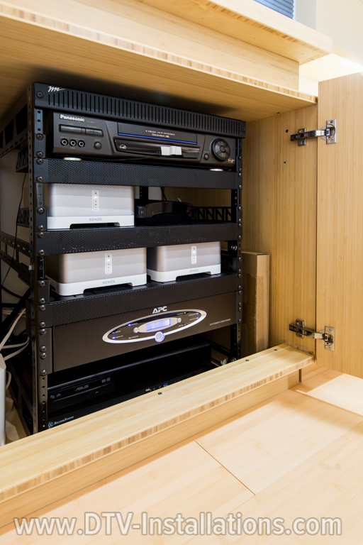 We installed two Sonos audio amplifiers to deliver highquality sound and VHS player and  APC power filter